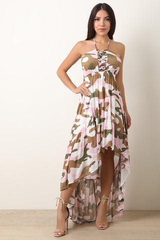 Camouflage Lace-Up Halter High Low Maxi Dress-Gcoco Online Store
