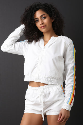 Rainbow Striped Windbreaker Set-Gcoco Online Store