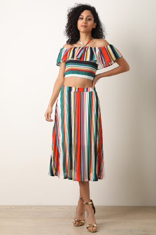 Striped Halter Crop Top with Midi Pleated Skirt Set-Gcoco Online Store