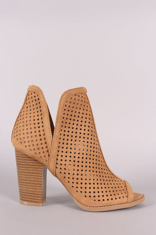 Qupid Perforated Suede Peep Toe Chunky Heeled Booties-Gcoco Online Store