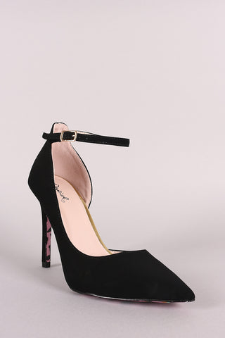 Qupid Nubuck Ankle Strap Dorsay Pointy Toe Pump-Gcoco Online Store