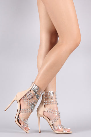 Transparent Strappy Buckled Studded Suede Stiletto Heel-Gcoco Online Store