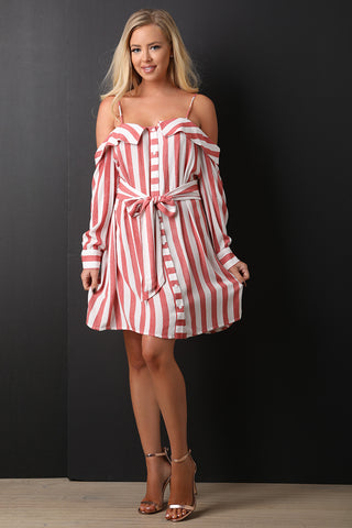 Button Front Stripped Mini Dress-Gcoco Online Store