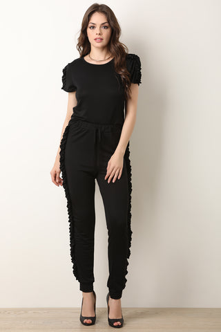 Ruffle Trim Top With Jogger Pants-Gcoco Online Store