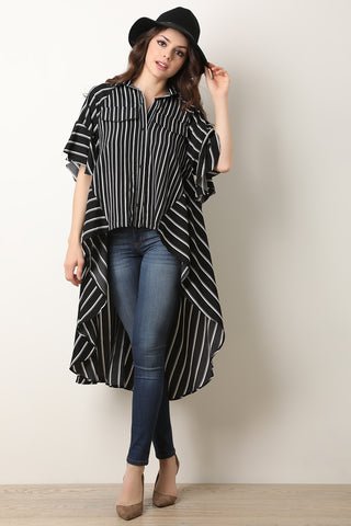 Striped Oversize High-Low Button Up Top-Gcoco Online Store