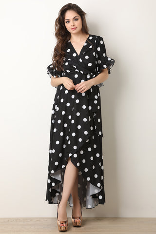 Polka Dot Ruffle Sleeves Surplice Wrap Dress-Gcoco Online Store