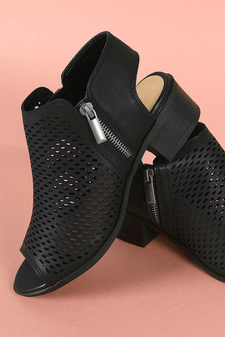 Soda Perforated Zipper Trim Open Toe Mule Booties-Gcoco Online Store