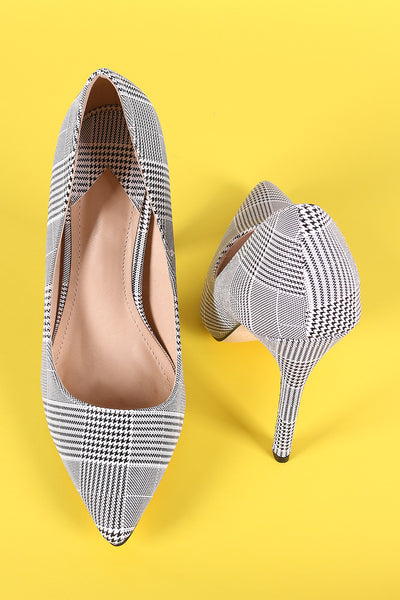 Houndstooth Print Pointy Toe Stiletto Pump