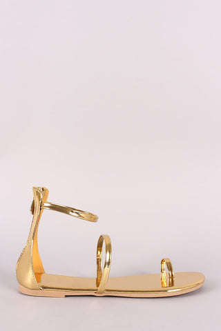 Liliana Patent Toe Ring Flat Sandal-Gcoco Online Store