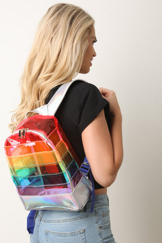 Clear Rainbow Iridescent Backpack