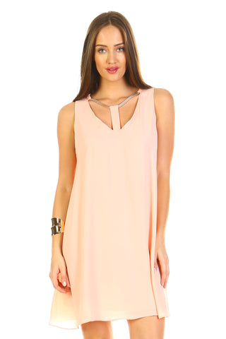 Women's Loose V-Neck Cut Out Dress with Gold Neckline-Gcoco Online Store