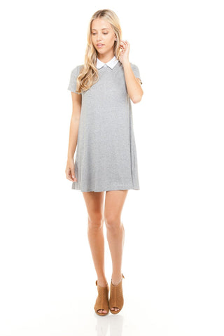Women's Loose Fitted Collar T-shirt Dress-Gcoco Online Store