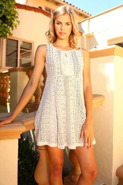Women's Lace Detail Tank Dress-Gcoco Online Store