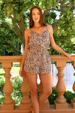 Women's Animal Print Button Romper-Gcoco Online Store