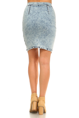 Women's Front Zipper Triangle Denim Skirt-Gcoco Online Store