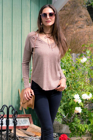 Women's Long Sleeve V-Neck Top-Gcoco Online Store