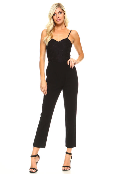 Women's Fitted Jumpsuit with Lace Bodice Detail-Gcoco Online Store