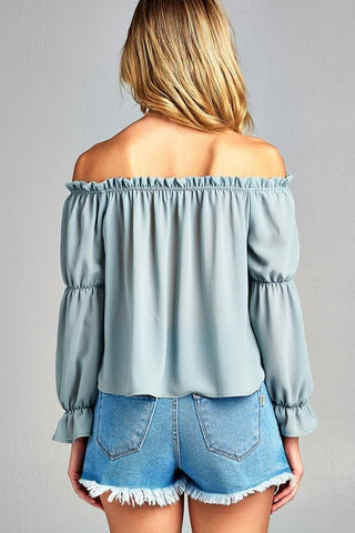 Women's Puff Long Sleeve Ruffled Front Tie Off Shoulder Top-Gcoco Online Store
