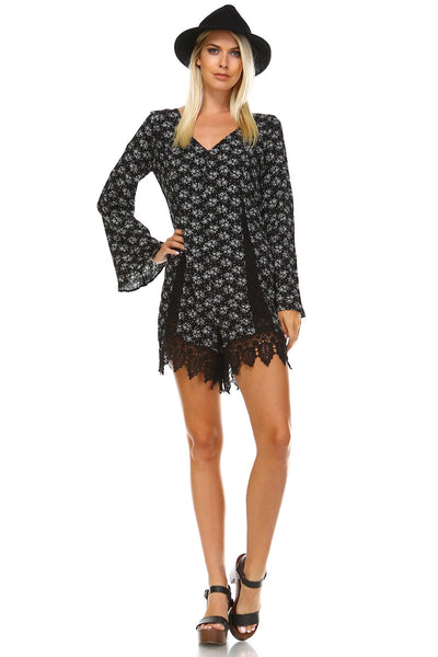 Women's Long Sleeve Back Tie Lace Detail Romper-Gcoco Online Store