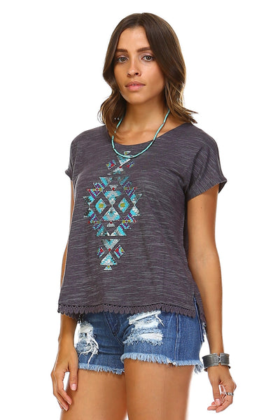 Women's Aztec Print Embroidered Trim Top-Gcoco Online Store
