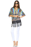 Women's Multi Color Tassel Detail Kimono Top