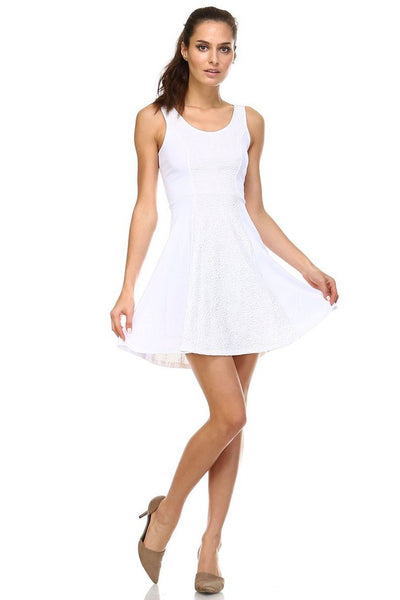 Women's White Skater Dress with Contrast Panel-Gcoco Online Store