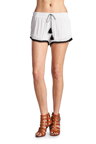 Women's Crochet Hem Shorts with Tassel Ties-Gcoco Online Store