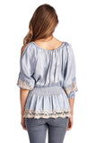 Women's Cold Shoulder Smocked Woven Top with Crochet Detail-Gcoco Online Store