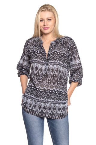 Women's 3/4 Three Quarter Sleeve Button Front Top-Gcoco Online Store