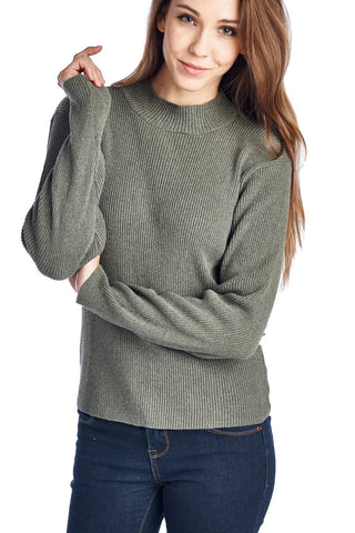 Women's High Neck Rib Knit Sweater-Gcoco Online Store