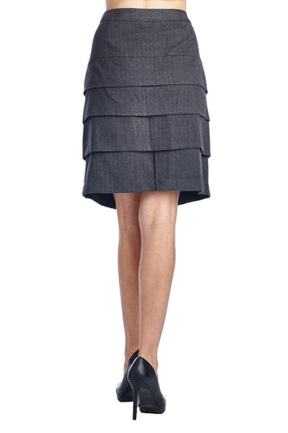 Larry Levine Grey/White Stretch Tiered Pinstripe Skirt-Gcoco Online Store