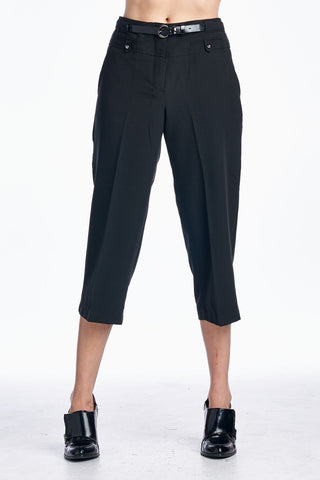 Larry Levine Stretch Capris with Belt-Gcoco Online Store