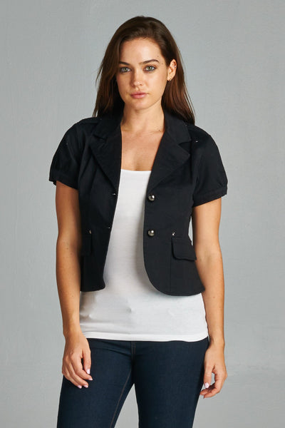 Women's Button Down Jacket with Pockets-Gcoco Online Store