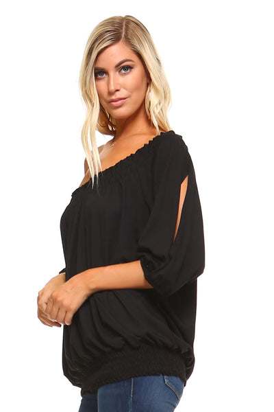 Women's 3/4 Three Quarter Sleeve Peasant Top with Elastic Neckline-Gcoco Online Store
