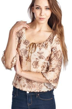 Women's 3/4 Three Quarter Sleeve Printed Top with Suede Ties-Gcoco Online Store