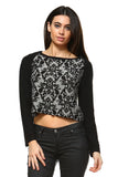 Women's Floral Print Crop Sweater-Gcoco Online Store
