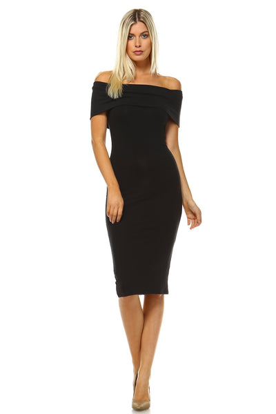 Women's Off Shoulder Bodycon Dress-Gcoco Online Store