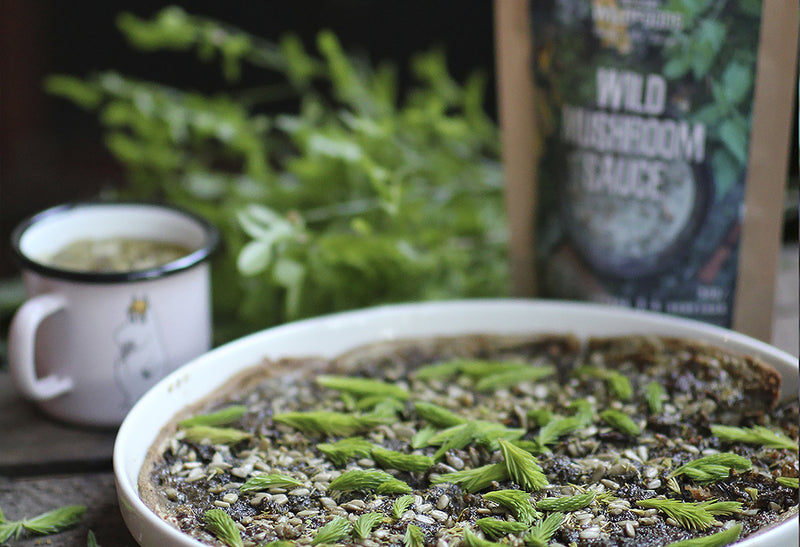 Picture of a Just Add Wild Mushroom Sauce in Pie with spruce Helsinki Wildfoods