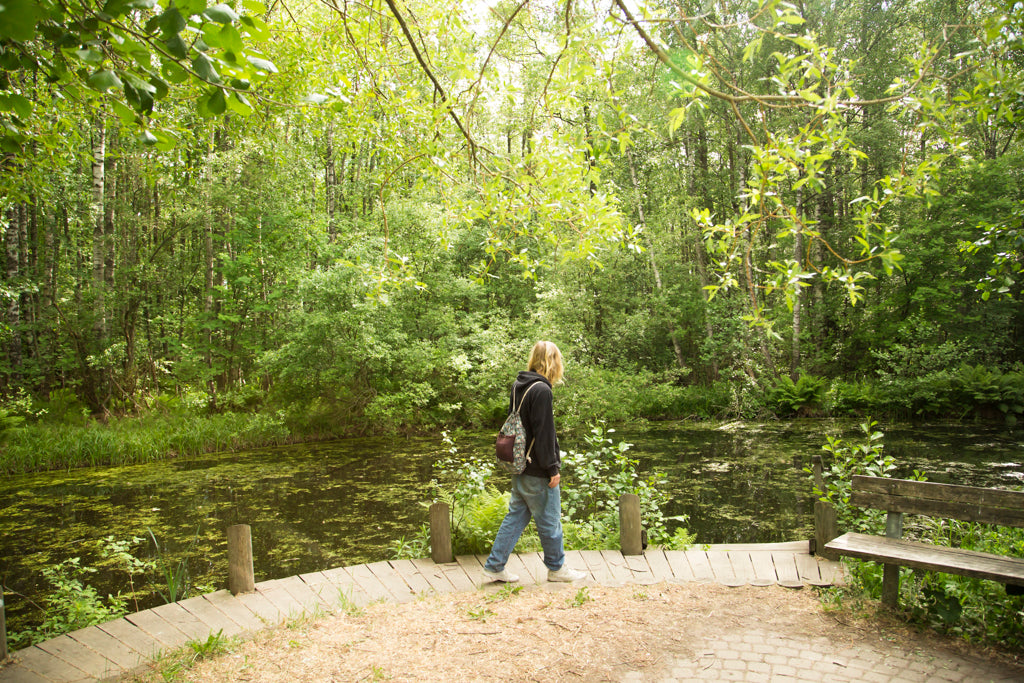 Picture of a pond and a Nordic bearded man in Viikki-Vanhakaupunginlahti, Helsinki nature sight