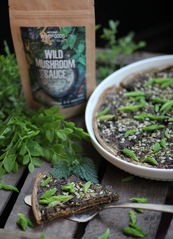 Picture of a Wild Mushroom Sauce in mushroom pie with spruce buds Helsinki Wildfoods