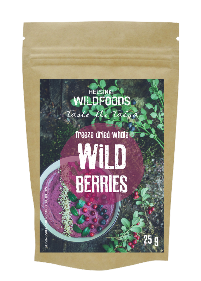 picture of Helsinki Wildfoods' freeze dried Whole Wild Berries, bio bag