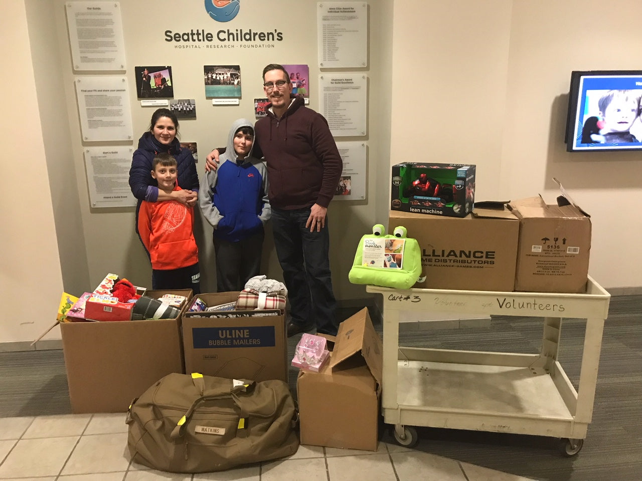 Trayvax delivering toys to Seattle Childrens Hospital