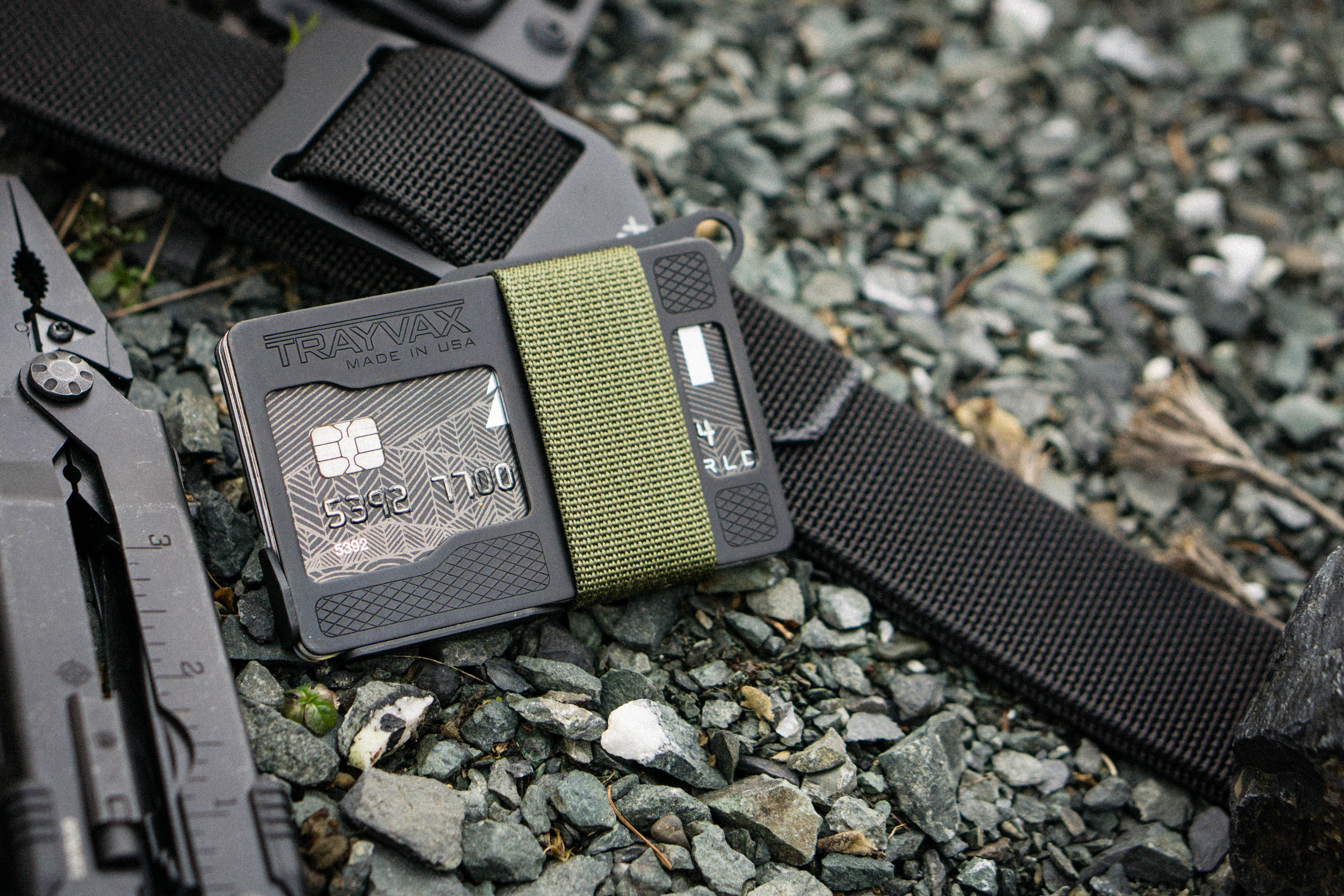 Armored Summit RFID blocking wallet on Trayvax belt