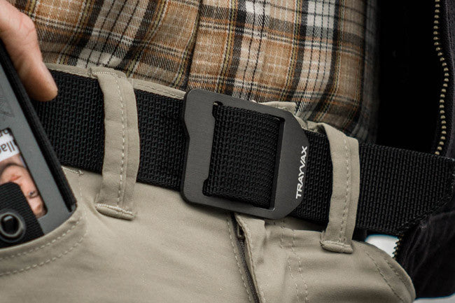 Trayvax Cinch web belt on khaki pants