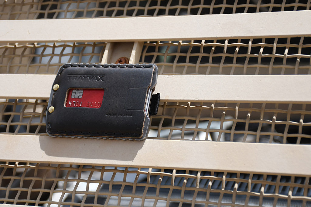 Picture of the Trayvax Ascent on a truck.The Trayvax® Ascent is a tough, front pocket wallet.