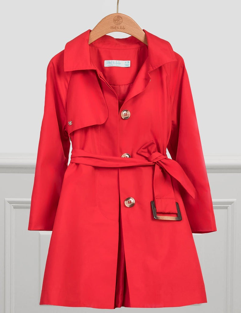 ABEL & LULA 5327 RED PLEATED TRENCH COAT - Cherubs