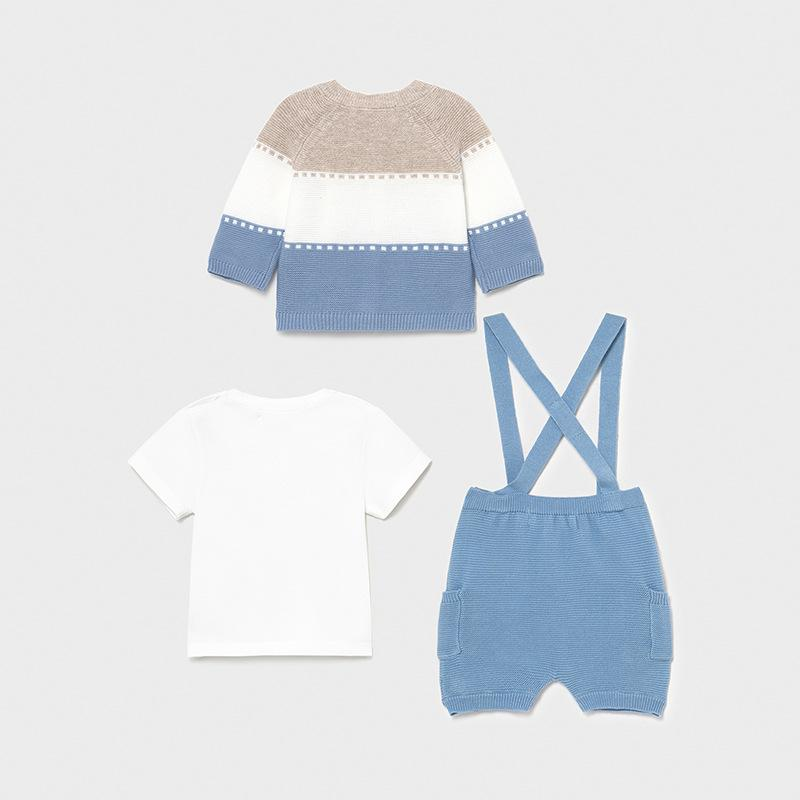 MAYORAL 1202 LIGHT BLUE CARDIGAN, SHORTS WITH BRACES & TEE-SHIRT - Cherubs