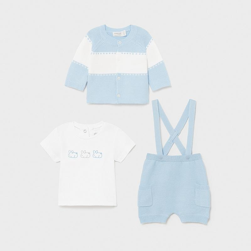 MAYORAL 1202 SKY CARDIGAN, SHORTS WITH BRACES & TEE-SHIRT - Cherubs