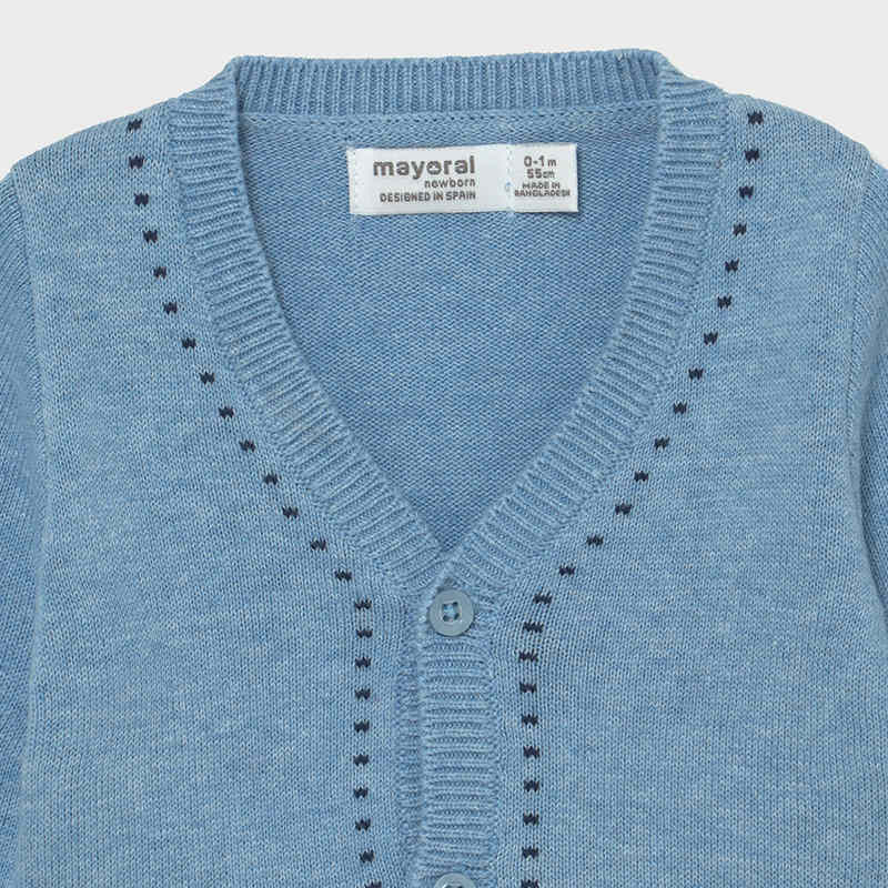MAYORAL 1334 LIGHT BLUE V NECK CARDIGAN - Cherubs