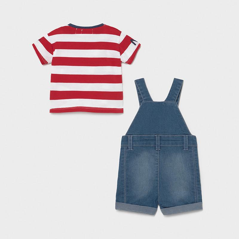 MAYORAL 1655 TOMATO RED STRIPE TEE-SHIRT & DUNGAREE - Cherubs